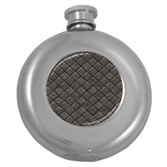 Seamless Leather Texture Pattern Round Hip Flask (5 Oz)