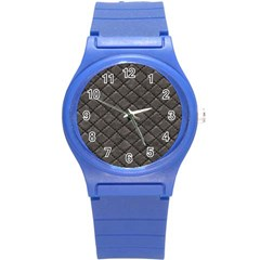 Seamless Leather Texture Pattern Round Plastic Sport Watch (s)