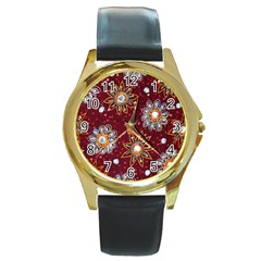 India Traditional Fabric Round Gold Metal Watch