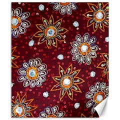 India Traditional Fabric Canvas 8  X 10
