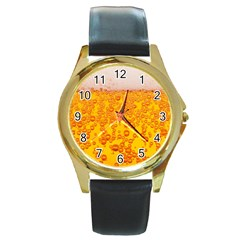 Beer Alcohol Drink Drinks Round Gold Metal Watch