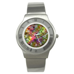 Technology Circuit Computer Stainless Steel Watch