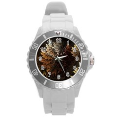 Fractalius Abstract Forests Fractal Fractals Round Plastic Sport Watch (l)