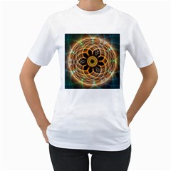 Mixed Chaos Flower Colorful Fractal Women s T Shirt (white) (two Sided)