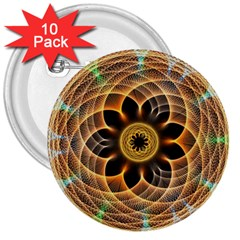 Mixed Chaos Flower Colorful Fractal 3  Buttons (10 Pack)