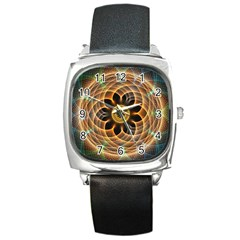 Mixed Chaos Flower Colorful Fractal Square Metal Watch
