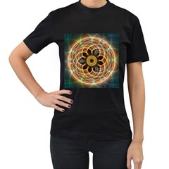 Mixed Chaos Flower Colorful Fractal Women s T Shirt (black) (two Sided)