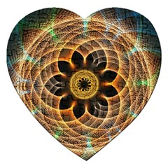 Mixed Chaos Flower Colorful Fractal Jigsaw Puzzle (heart)