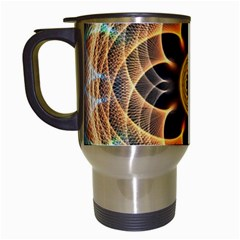 Mixed Chaos Flower Colorful Fractal Travel Mugs (white)
