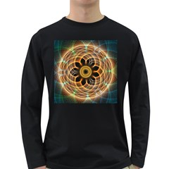 Mixed Chaos Flower Colorful Fractal Long Sleeve Dark T Shirts