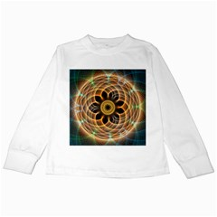 Mixed Chaos Flower Colorful Fractal Kids Long Sleeve T Shirts
