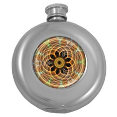 Mixed Chaos Flower Colorful Fractal Round Hip Flask (5 Oz)