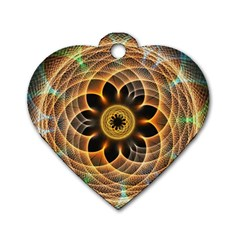 Mixed Chaos Flower Colorful Fractal Dog Tag Heart (one Side)