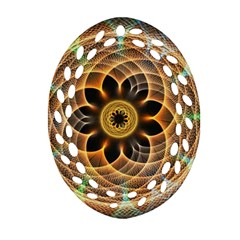 Mixed Chaos Flower Colorful Fractal Oval Filigree Ornament (two Sides)