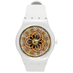 Mixed Chaos Flower Colorful Fractal Round Plastic Sport Watch (m)