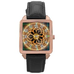 Mixed Chaos Flower Colorful Fractal Rose Gold Leather Watch