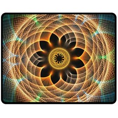 Mixed Chaos Flower Colorful Fractal Double Sided Fleece Blanket (medium)