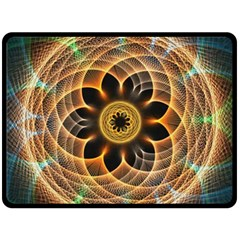 Mixed Chaos Flower Colorful Fractal Double Sided Fleece Blanket (large)