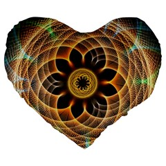 Mixed Chaos Flower Colorful Fractal Large 19  Premium Flano Heart Shape Cushions