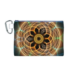 Mixed Chaos Flower Colorful Fractal Canvas Cosmetic Bag (m)