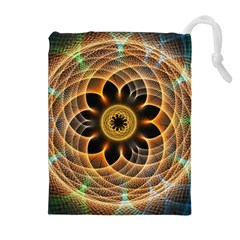 Mixed Chaos Flower Colorful Fractal Drawstring Pouches (extra Large)