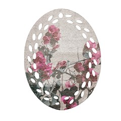 Shabby Chic Style Floral Photo Oval Filigree Ornament (two Sides)
