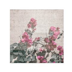 Shabby Chic Style Floral Photo Small Satin Scarf (square)