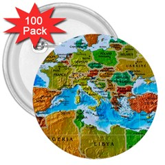 World Map 3  Buttons (100 Pack)