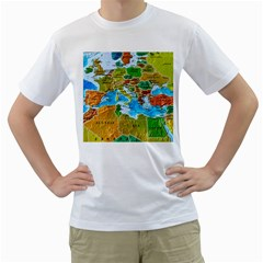 World Map Men s T Shirt (white) (two Sided)