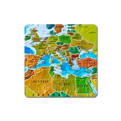 World Map Square Magnet