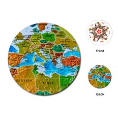 World Map Playing Cards (round)