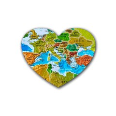 World Map Heart Coaster (4 Pack)