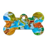 World Map Dog Tag Bone (Two Sides) Front