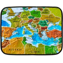 World Map Double Sided Fleece Blanket (mini)