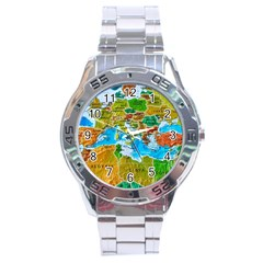 World Map Stainless Steel Analogue Watch