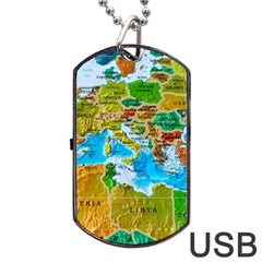 World Map Dog Tag Usb Flash (one Side)