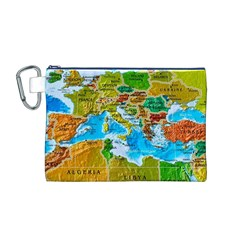 World Map Canvas Cosmetic Bag (m)