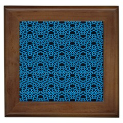 Triangle Knot Blue And Black Fabric Framed Tiles
