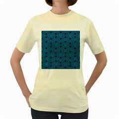 Triangle Knot Blue And Black Fabric Women s Yellow T Shirt