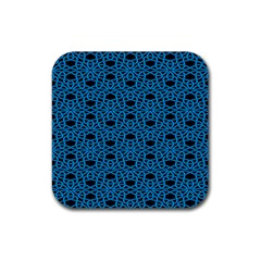 Triangle Knot Blue And Black Fabric Rubber Square Coaster (4 Pack)