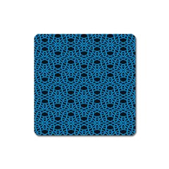 Triangle Knot Blue And Black Fabric Square Magnet