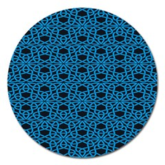Triangle Knot Blue And Black Fabric Magnet 5  (round)