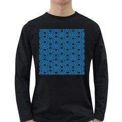 Triangle Knot Blue And Black Fabric Long Sleeve Dark T Shirts
