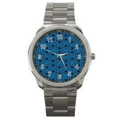 Triangle Knot Blue And Black Fabric Sport Metal Watch