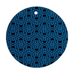 Triangle Knot Blue And Black Fabric Round Ornament (two Sides)
