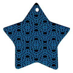 Triangle Knot Blue And Black Fabric Star Ornament (two Sides)
