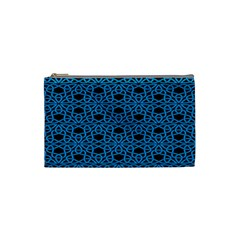 Triangle Knot Blue And Black Fabric Cosmetic Bag (small)