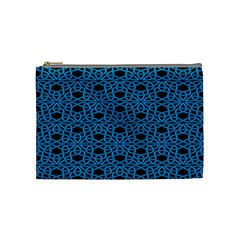 Triangle Knot Blue And Black Fabric Cosmetic Bag (medium)