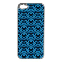 Triangle Knot Blue And Black Fabric Apple Iphone 5 Case (silver)