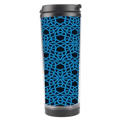 Triangle Knot Blue And Black Fabric Travel Tumbler